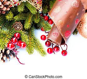isolado, decoração, decorações, branca, feriado, natal