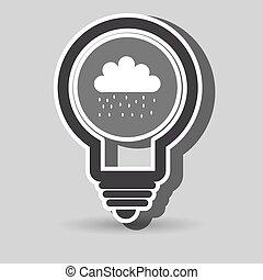 isolado, desenho, nuvem chuva, ícone