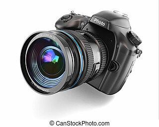 isolado, digital, foto, branca, câmera, experiência.