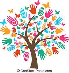 isolado, diversidade, árvore, mãos