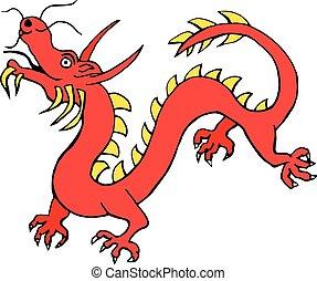 isolado, dragão, símbolos, papel, china, fundo, signos, branco vermelho, ícone