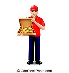 isolado, entrega, vetorial, branca, homem pizza