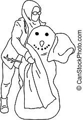 isolado, esboço, linhas, fundo, menina, vetorial, branca, pretas, boneco neve, doodle, ilustração, muçulmano, ponha, scalf, hijab, th, pescoço, mão, desenhado