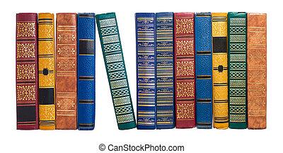 isolado, espinhas, livro, estante, branca, ou, fila