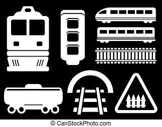 isolado, estrada ferro, branca, objetos, jogo