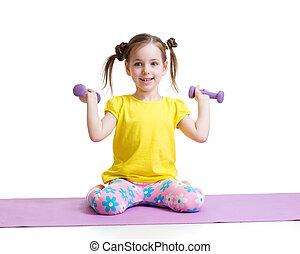isolado, exercitar, fundo, criança, ativo, branca