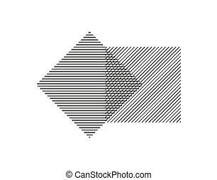 isolado, experiência., cruzar, linhas paralelas, cada, quadrados, outro., projeto geométrico, forma, dois, branca