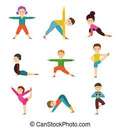 isolado, experiência., ioga, branca, modelo, diferente, poses, estilo vida saudável, crianças, crianças