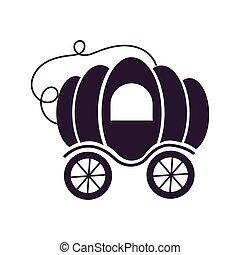 isolado, fairytale, carruagem, abóbora, ícone, objeto