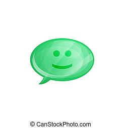 isolado, fala, lustroso, fundo, sorrizo, branca, bolha, ícone