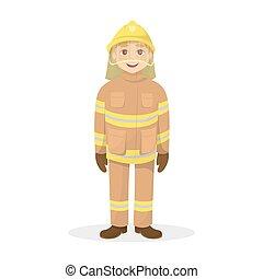 isolado, feliz, fireman.