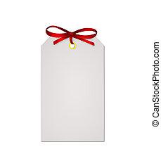 isolado, fita, arco, anote cartão, fundo, branco vermelho