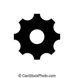 isolado, fundo, vetorial, branca, pretas, ícone, engrenagem, simples