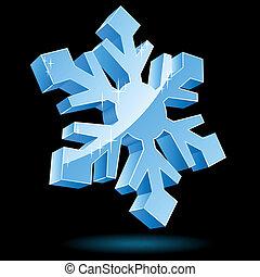 isolado, fundo, vetorial, pretas,  Snowflake,  3D
