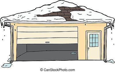 isolado, garagem, com, aderido, porta, e, neve