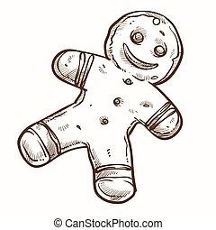 isolado, gengibre, biscoito, homem bolo gengibre, assado, ícone