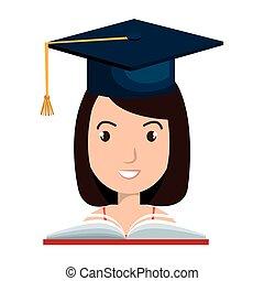 isolado, graduação, cartão, ícone