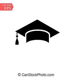 isolado, graduação, vetorial, fundo, chapéu branco, ícone
