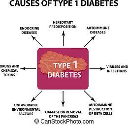 isolado, ilustração, experiência., infographics., vetorial, 1., tipo, causas, diabetes