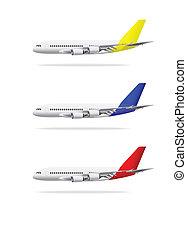 isolado, ilustração, experiência., vetorial, avião, branca