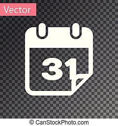 isolado, ilustração, experiência., vetorial, calendário, branca, transparente, ícone