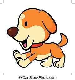 isolado, ilustração, experiência., vetorial, running., branca, filhote cachorro, mascote