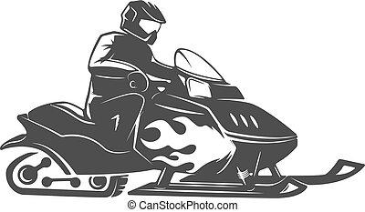 isolado, ilustração, experiência., vetorial, snowmobile, branca, ícone