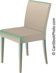 isolado, ilustração, jantar, vetorial, cadeira, branca