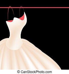 isolado, ilustração, realístico, vetorial, experiência preta, vestido casamento