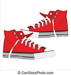 isolado, ilustração, sapatos