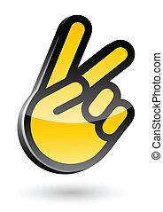 isolado, ilustração, sinal, vetorial, vitória, fundo, gesticule, branca, mão