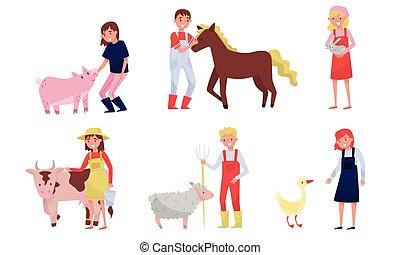 isolado, jogo, branca, animais, agrícola, concept., ilustração, vetorial, agricultores, importar-se, fundo