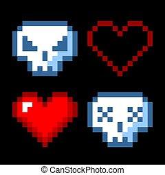 isolado, jogo, pixel, 8, vetorial, arte, bit, objetos