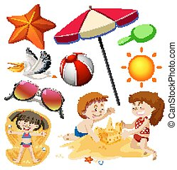 isolado, jogo, verão, objetos, tema, feriado