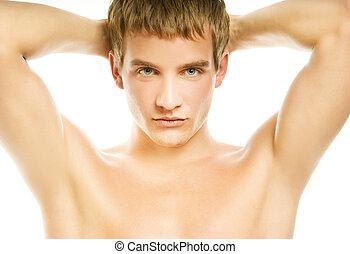 isolado, jovem, fundo, branca, bonito, homem