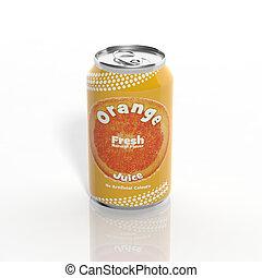 isolado, lata, soda, laranja, branca, 3d