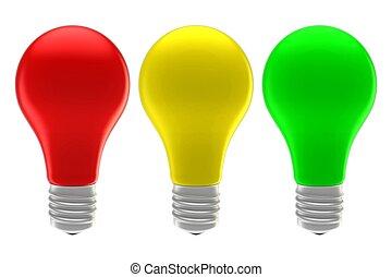 isolado, luzes amarelo, experiência verde, branco vermelho