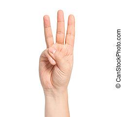 isolado, macho, mão, mostrando, numere três