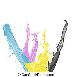 isolado, magenta, respingo tinta, pretas, fundo amarelo, branca, cyan