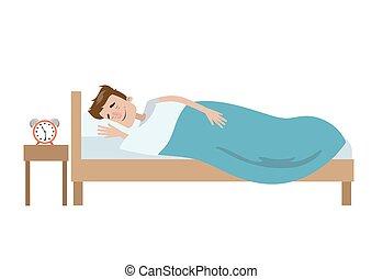 isolado, man., dormir