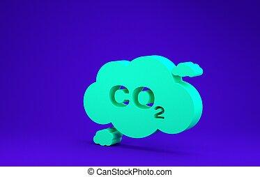 isolado, meio ambiente, smog, símbolo, nuvem, 3d, experiência., verde, poluição, fórmula, carbono, conceito, concept., minimalism, ilustração, co2, azul, ícone, render, bióxido, emissões