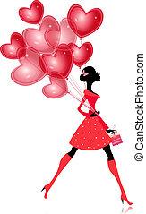 isolado, menina, com, um, valentines, balloon