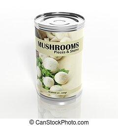 isolado, metálico, cogumelos, lata, branca, 3d