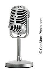 isolado, microfone, branca, retro