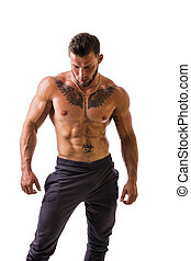 isolado, muscular, topless, bonito, ficar, homem