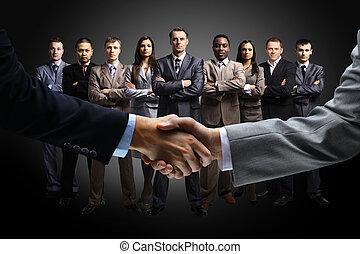 isolado, negócio, aperto mão