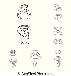 isolado, objeto, de, inverno, e, gelado, símbolo., cobrança, de, inverno, e, morno, vetorial, ícone, para, stock.