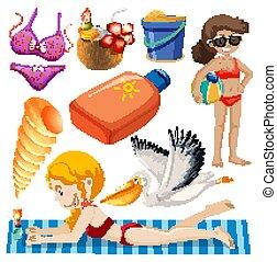 isolado, objetos, tema, verão, jogo, feriado