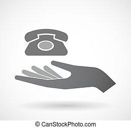 isolado, offerign, mão, ícone, com, um, retro, sinal telefone