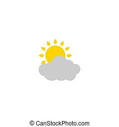 isolado, parcialmente nublado, vetorial, illustration., icon., tempo